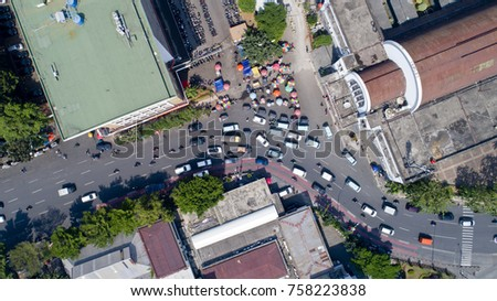Birds eye view of the front area of Kota Train Station in Jakarta, Java, Indonesia