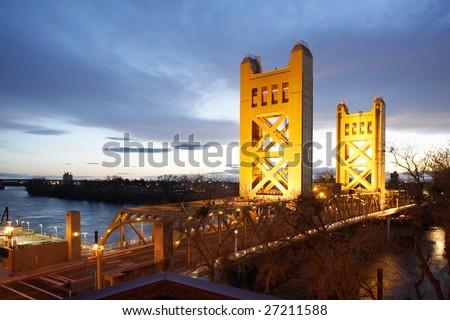 Birds eye view of the Tower Bridge in Old Sacramento - stock photo