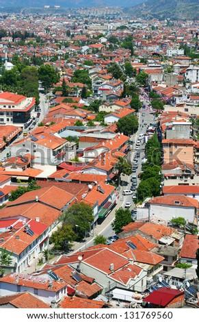 Birds eye view on Fethiye town in Turkey - stock photo