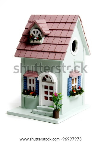 Birds house in the studio against a white background