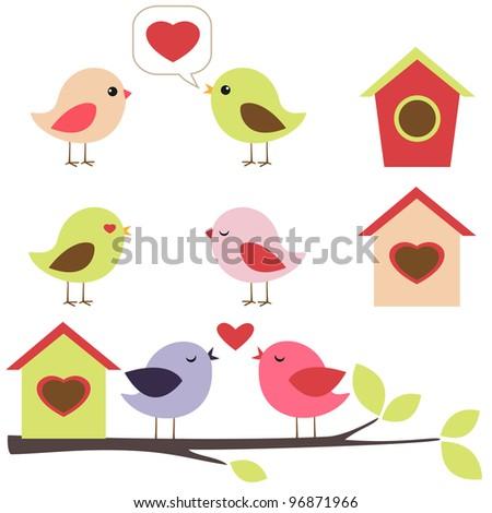 Birds in love vector set. Raster version. - stock photo