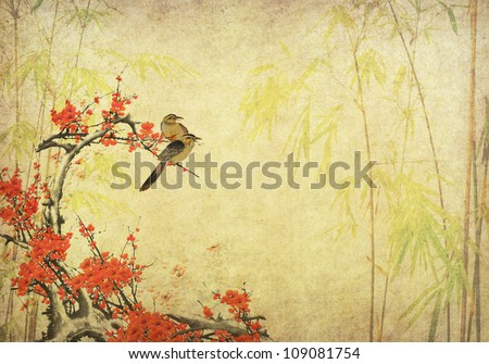 birds on plum blossom and bamboo on paper background - stock photo