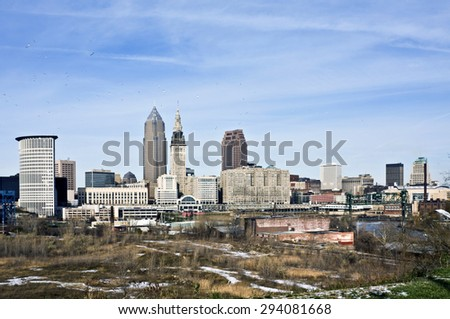 Birds over Downtown Cleveland, Ohio. - stock photo