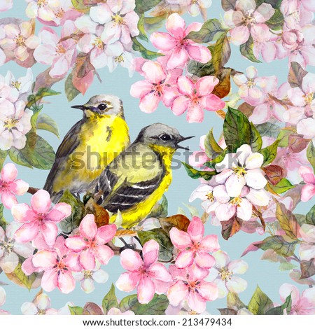 Birds, pink cherry (sakura) and apple flowers. Seamless repeated floral pattern. Watercolor - stock photo