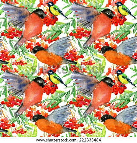 Birds (tit and finch) on  tree branch. Watercolor winter repeating pattern - stock photo