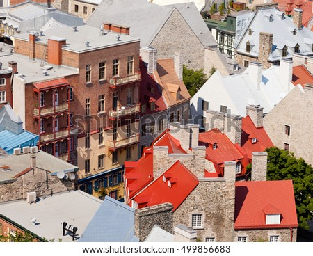 Birds view of of beautiful historic ancient stone house buildings in Old Quebec City, Quebec, Canada