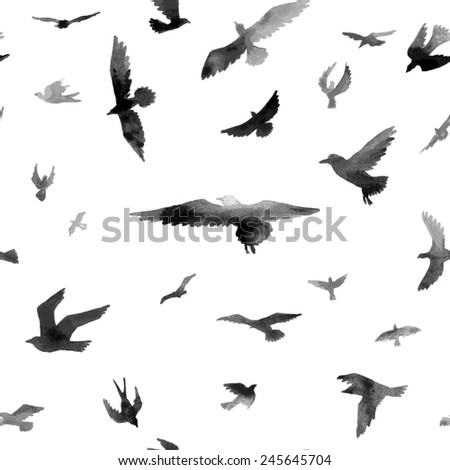 Birds. Watercolor seamless pattern. Raster illustration.