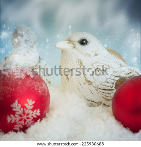 Birds with christmas decoration