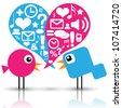 Birds with social media icons - stock vector