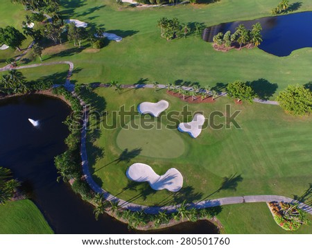Birdseye view of a golf course - stock photo