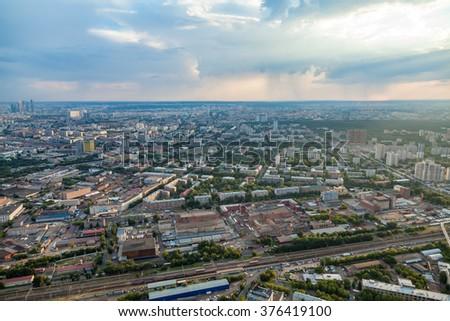 Birdseye view of Moscow, Russia, summer