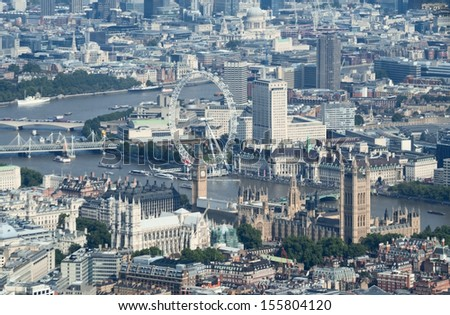 Birdseye view of the Parliament and Westminster Abbey in the center of London, UK - stock photo