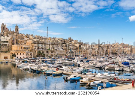 Birgu waterfront on Vittoriosa in Valletta - stock photo