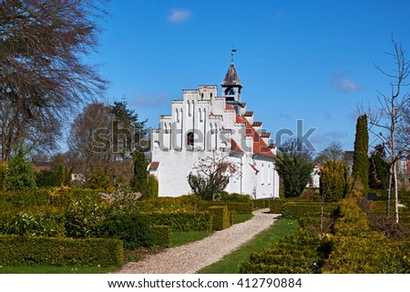 Birkeroed chapel situated on the towns cemetery, seen from the gable - stock photo