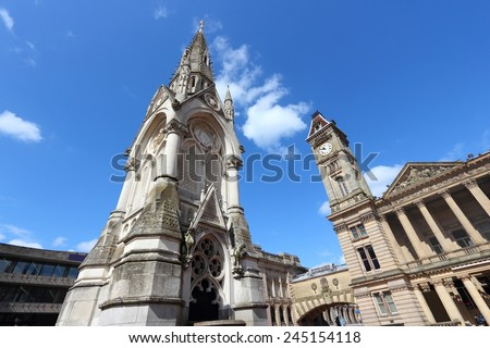 Birmingham - Albert Memorial and Museum and Art Gallery with famous Big Brum clock tower. West Midlands, England. - stock photo