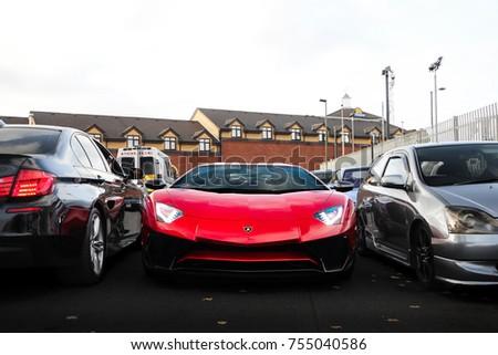Birmingham, England   October 2017: Lamborghini Aventador SV Supercar  Attending A Car Event At