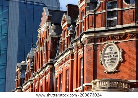 Birmingham in West Midlands, England. Birmingham Midland Eye Hospital - old ophthalmology healthcare center. - stock photo