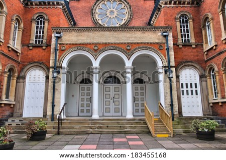 Birmingham in West Midlands, England. Exterior Central Synagogue, Orthodox Jewish temple in Edgbaston district. - stock photo