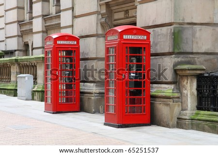 Birmingham red telephone boxes. West Midlands, England.