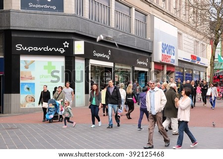 BIRMINGHAM, UK - APRIL 19, 2013: People shop downtown on April 19, 2013 in Birmingham, UK. Birmingham is the most populous British city outside London with 1.07 million residents. - stock photo