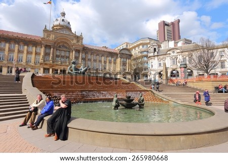 BIRMINGHAM, UK - APRIL 19, 2013: People visit Victoria Square in Birmingham. Birmingham is the most populous British city outside London with 1,074,300 residents (2011 census). - stock photo