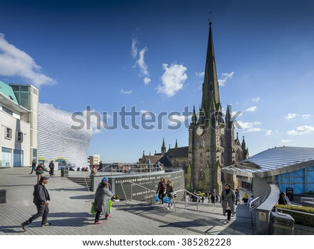 BIRMINGHAM, UK - February 24 2016: The church of St Martin in the Bullring shopping centre, Birmingham, West Midlands, England, UK, Western Europe - stock photo