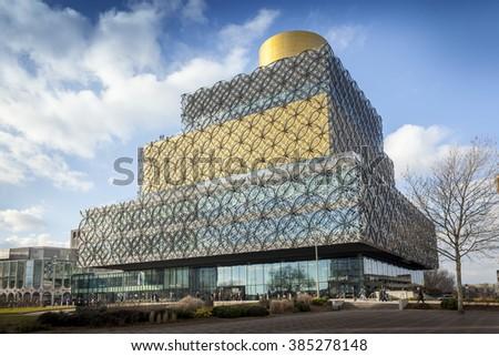 BIRMINGHAM, UK - February 24 2016: The Library of Birmingham, Centenary Square, Birmingham, England, UK, Western Europe - stock photo