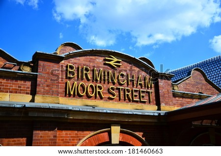 BIRMINGHAM, UK - 21 July 2013 : Birmingham Moor Street Station. It is organised by Chiltern Company to operate the train lines. People can travel from Birmingham to London from this station.
