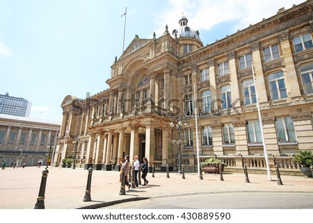 BIRMINGHAM, UK - JUNE 2 2016: Council House Birmingham with the famous Victorian square in front. Birmingham metropolitan area is the 2nd most populous in the UK with 3.7 million people. - stock photo