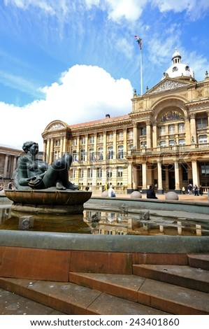 BIRMINGHAM, UK - MAY 14, 2014 - The River Fountain (aka The Floozie in the Jacuzzi) with the Council House to the rear, Victoria Square, Birmingham, West Midlands, England, UK, Europe, May 14, 2014. - stock photo