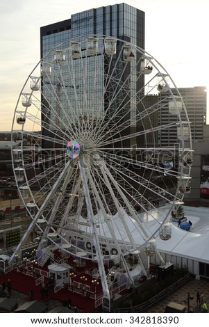 Birmingham, UK - 21 Nov 2015: The Birmingham Mail Big Wheel is an annual fixture in the city around winter.  - stock photo