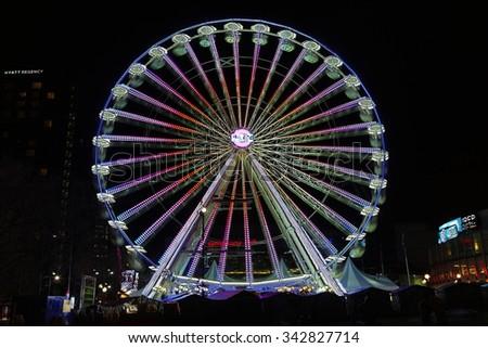 Birmingham, UK - 22 November 2015: The Birmingham Mail Big Wheel is an annual fixture at christmas.  - stock photo