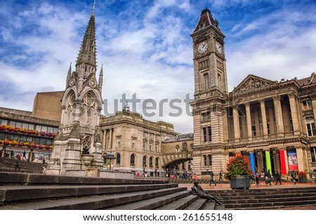 BIRMINGHAM, UK - SEPTEMBER 1, 2014: Chamberlain Memorial erected in Chamberlain Square in 1880 to commemorate the public service of Joseph Chamberlain. City Council House - stock photo