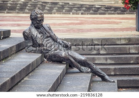 BIRMINGHAM, UK - SEPTEMBER, 1: The statue of Thomas Attwood by Sioban Coppinger and Fiona Peever at 1993. It is located at Chamberlain Square in the historical part of the city - stock photo