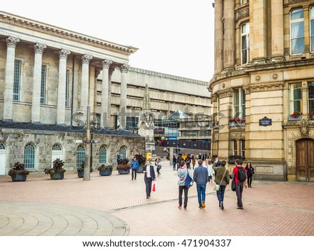 BIRMINGHAM, UK - SEPTEMBER 24, 2015: Tourists visiting the city (HDR)