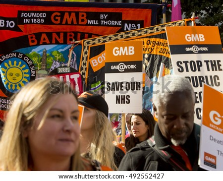 Birmingham, United Kingdom - October 2, 2016: People's Assembly March against Austerity. Nearly 20,000 people took to the streets in Birmingham to protest against the Tory government.
