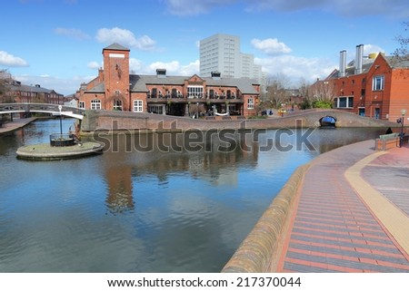 Birmingham water canal network - famous Birmingham-Fazeley roundabout. West Midlands, England. - stock photo