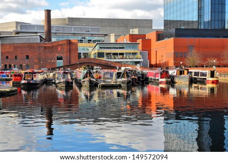 Birmingham water canal network - famous Gas Street Basin. West Midlands, England. - stock photo