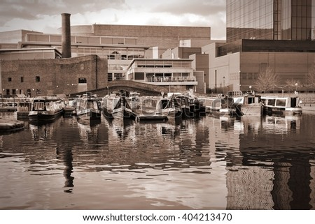 Birmingham water canal network - famous Gas Street Basin. West Midlands, England. Sepia toned vintage style. - stock photo