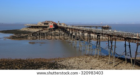 Birnbeck Pier Weston-super-Mare Somerset England historic English structure, The pier has been closed to the public since 1994 and is now on the Buildings at Risk Register.