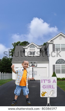 Birth Announcement it's a Girl Little Preschool Boy in Driveway Suburban Home - stock photo