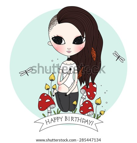Birth day background or card. Whimsical illustration. Raster. - stock photo