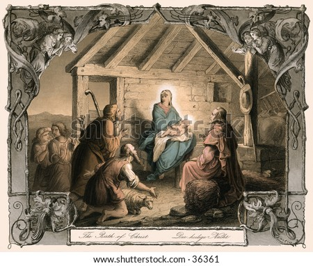 Birth of Christ - an nativity illustration (hand-tinted, steel engraving) from an old German Bible. Very detailed and embellished. - stock photo