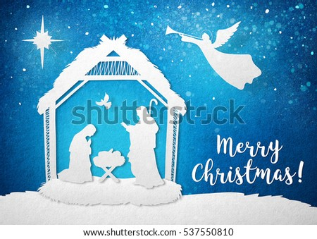 Birth Of Christ Illustration On Blue Paper Background Merry Christmas