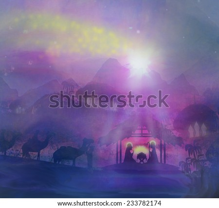 birth of Jesus in Bethlehem - stock photo