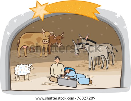 Birth of Jesus Raster image. - stock photo