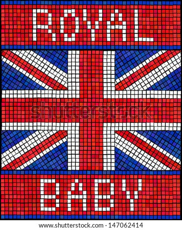 Birth of the Royal Baby concept. A Union Jack flag made from mosaic tiles.