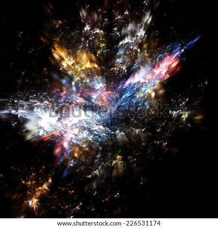 Birth of the Universe. Explosion on a black. Dynamic color background. Fractal art