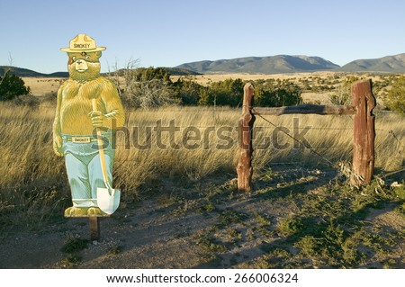 Birth place and site where Smokey the Bear was found during a bad fire, Smokey Bear Historical State Park on Route 48, southern New Mexico - stock photo