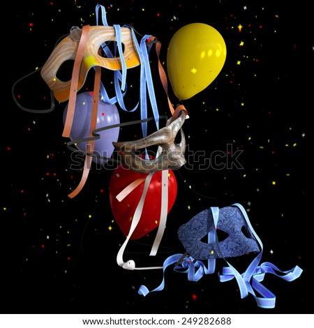 birthday and holiday decorative background with balloons and masks - stock photo
